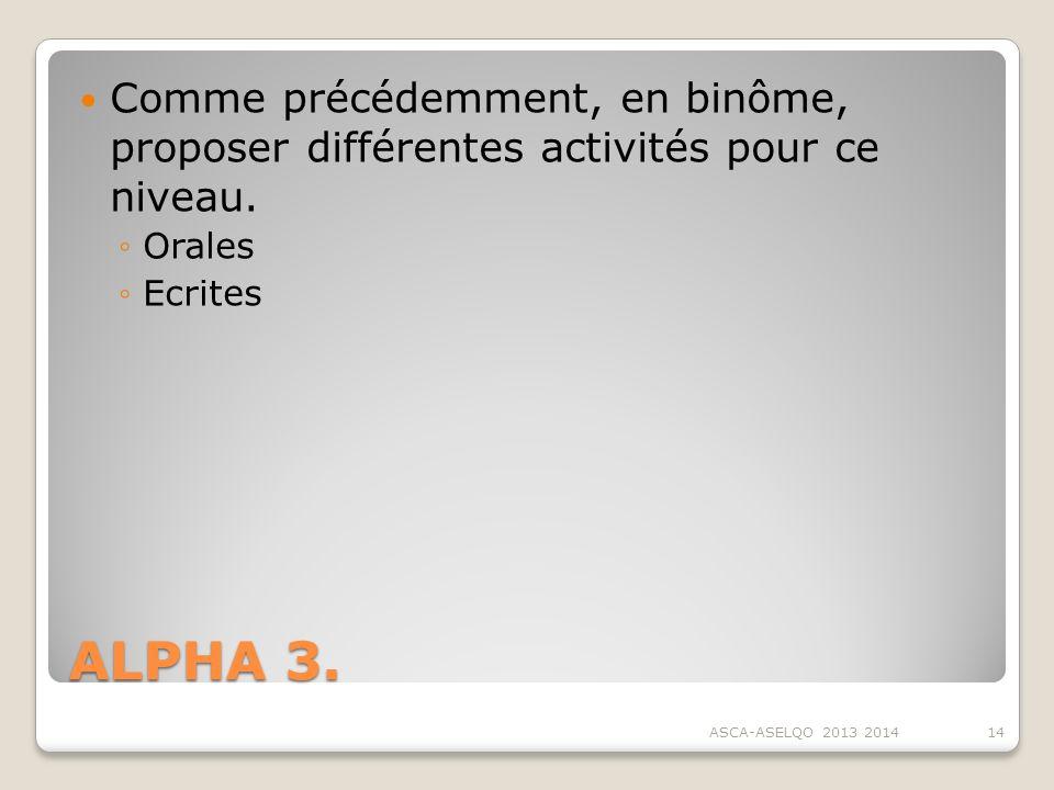 Comme précédemment, en binôme, proposer différentes activités pour ce niveau.