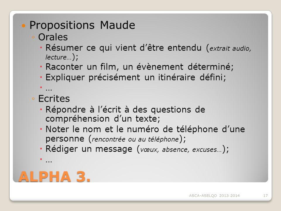 ALPHA 3. Propositions Maude Orales Ecrites