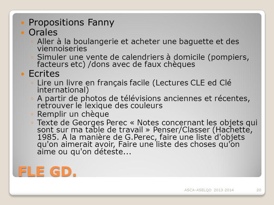 FLE GD. Propositions Fanny Orales Ecrites