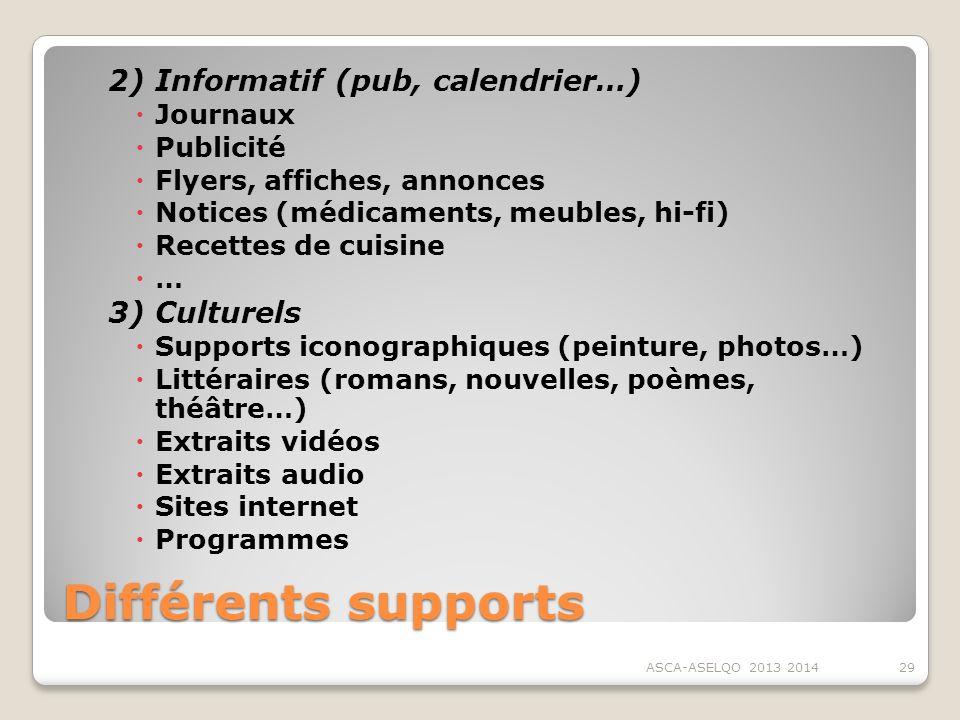 Différents supports 2) Informatif (pub, calendrier…) 3) Culturels