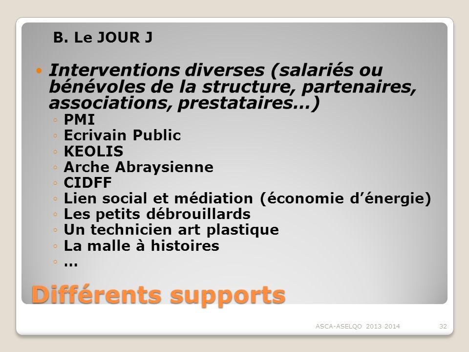 B. Le JOUR J Interventions diverses (salariés ou bénévoles de la structure, partenaires, associations, prestataires…)