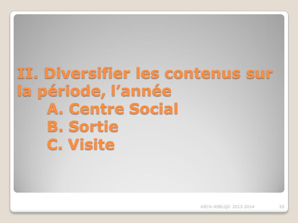 II. Diversifier les contenus sur la période, l'année. A. Centre Social