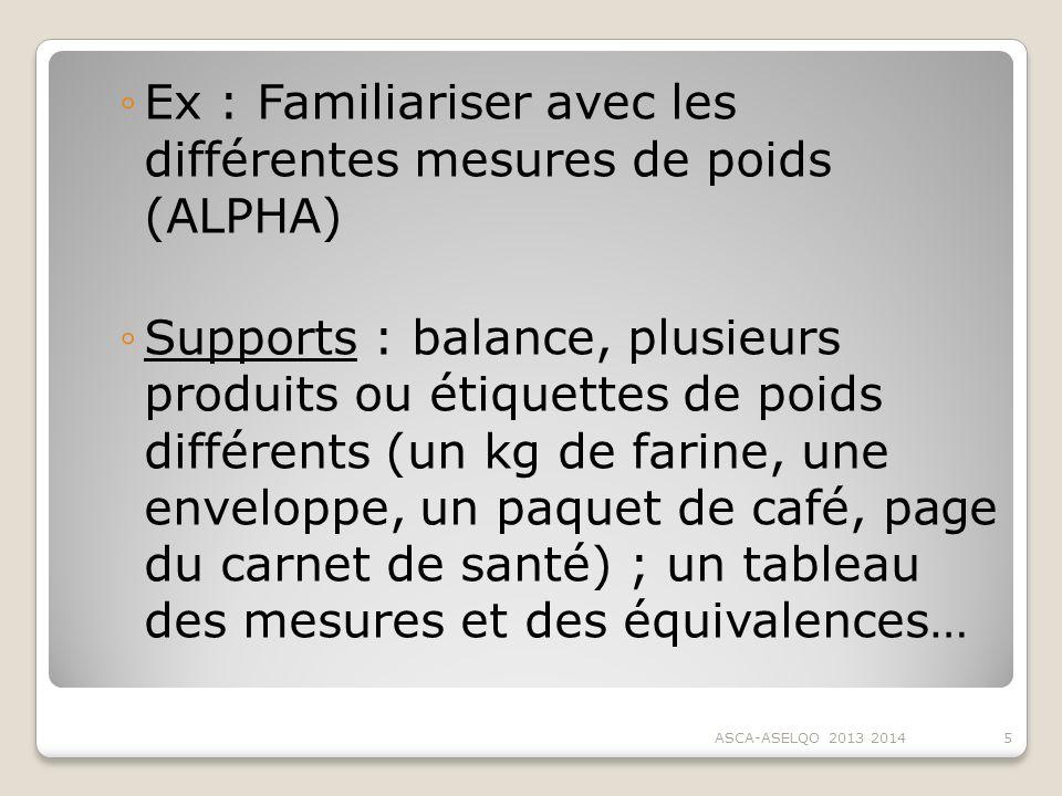 Ex : Familiariser avec les différentes mesures de poids (ALPHA)
