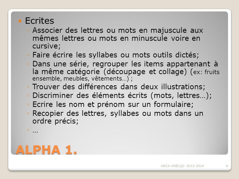 Ecrites Associer des lettres ou mots en majuscule aux mêmes lettres ou mots en minuscule voire en cursive;