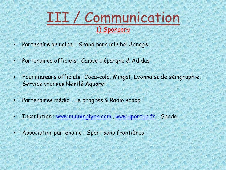 III / Communication 1) Sponsors