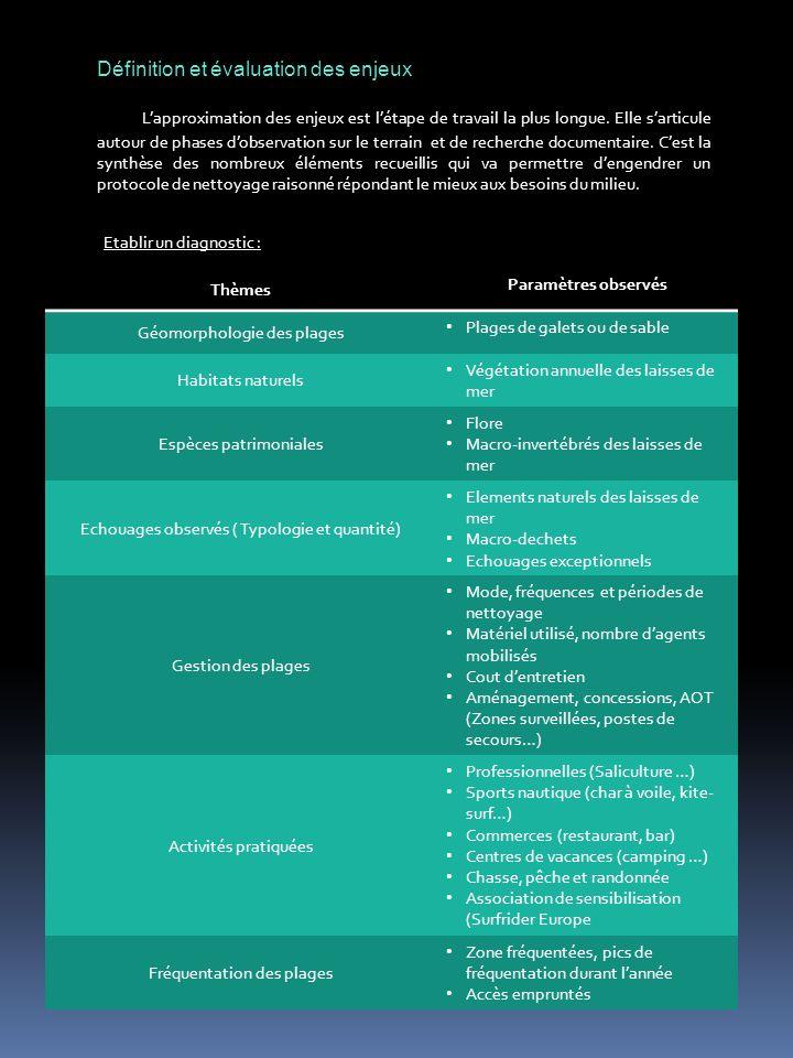Définition et évaluation des enjeux