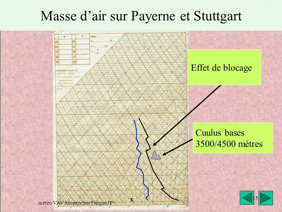 Masse d'air sur Payerne et Stuttgart