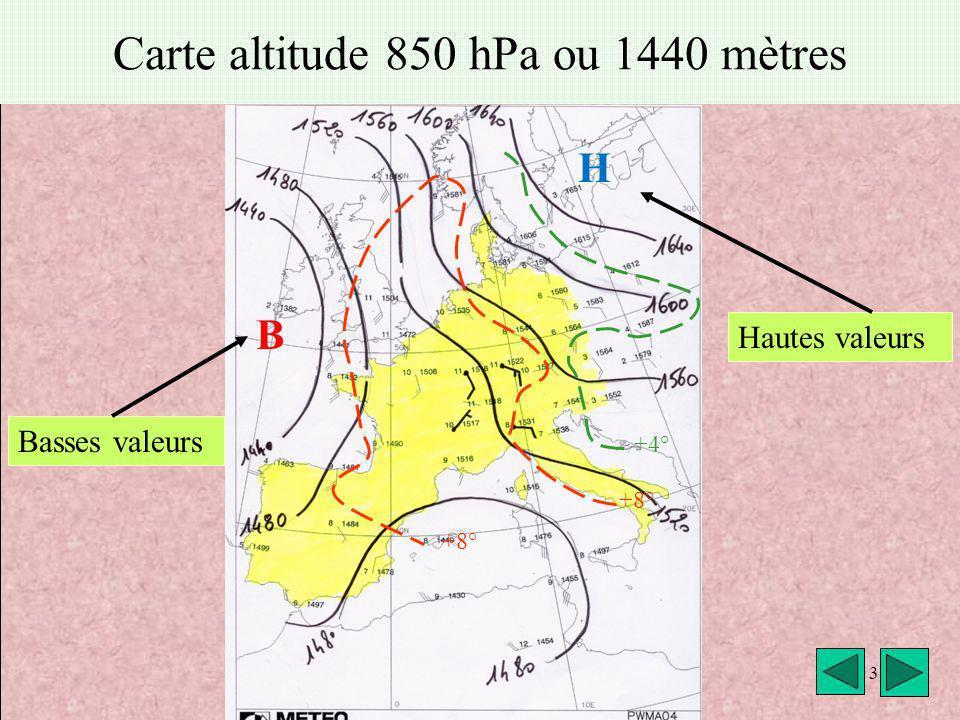 Carte altitude 850 hPa ou 1440 mètres