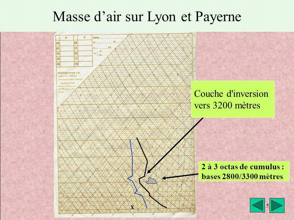 Masse d'air sur Lyon et Payerne
