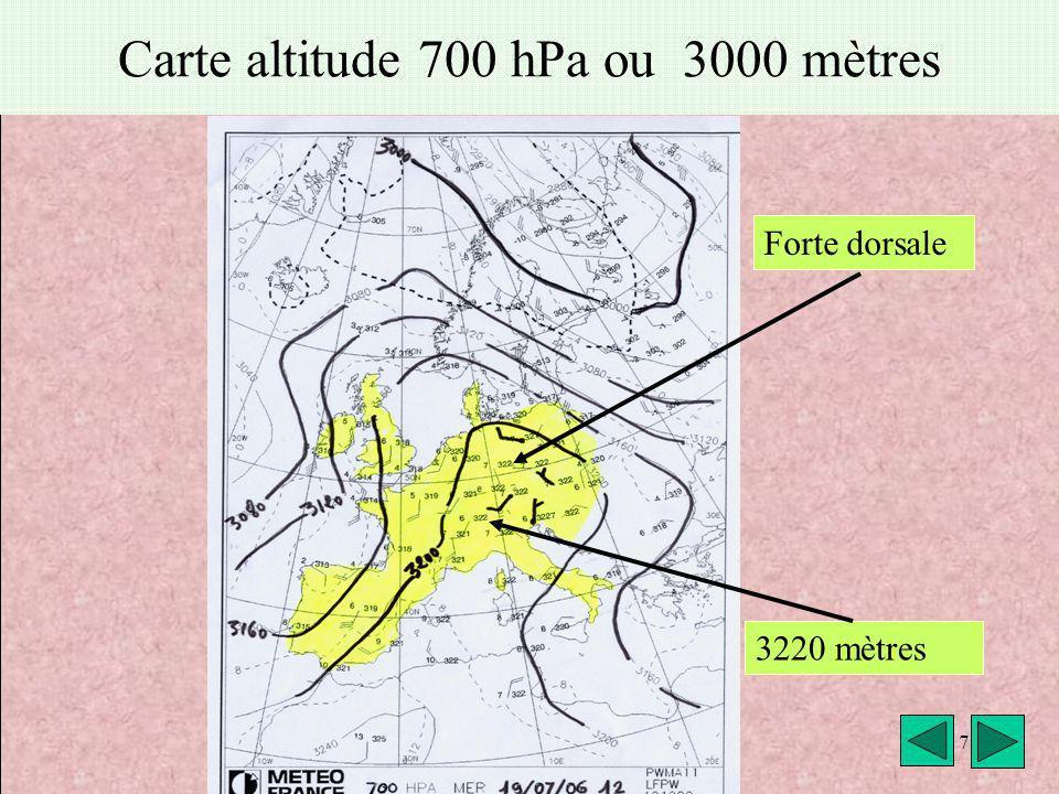 Carte altitude 700 hPa ou 3000 mètres