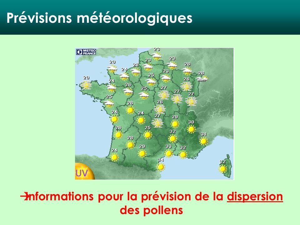 Informations pour la prévision de la dispersion des pollens