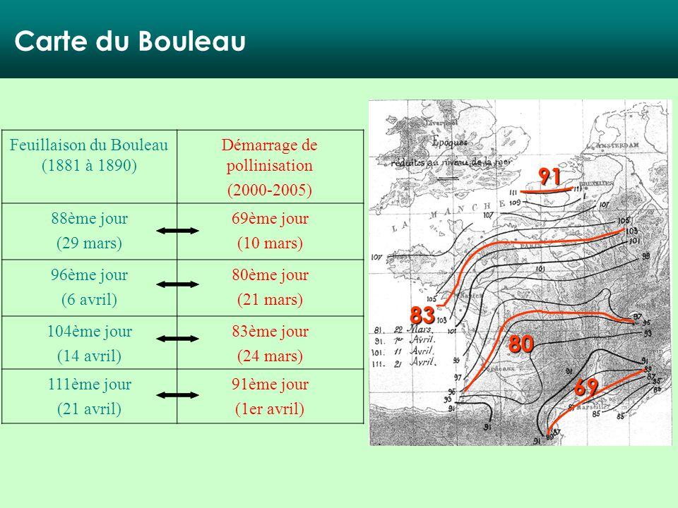 Carte du Bouleau 91 83 80 69 Feuillaison du Bouleau (1881 à 1890)