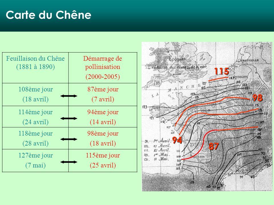 Carte du Chêne 115 98 94 87 Feuillaison du Chêne (1881 à 1890)