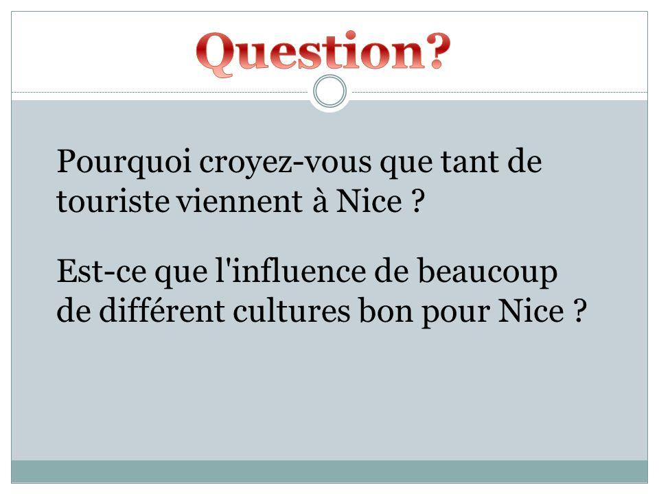 Question Pourquoi croyez-vous que tant de touriste viennent à Nice