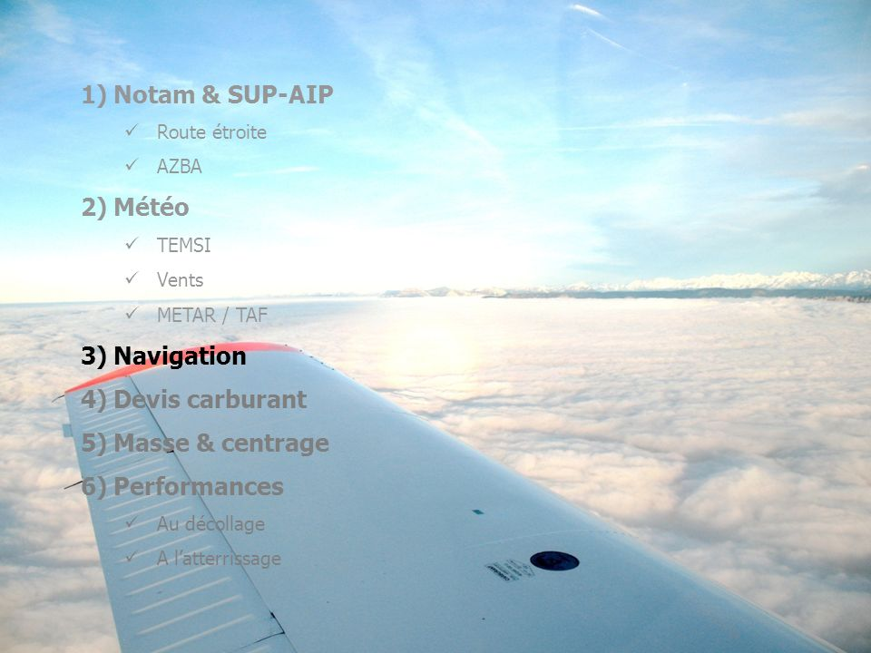 Notam & SUP-AIP Météo Navigation Devis carburant Masse & centrage
