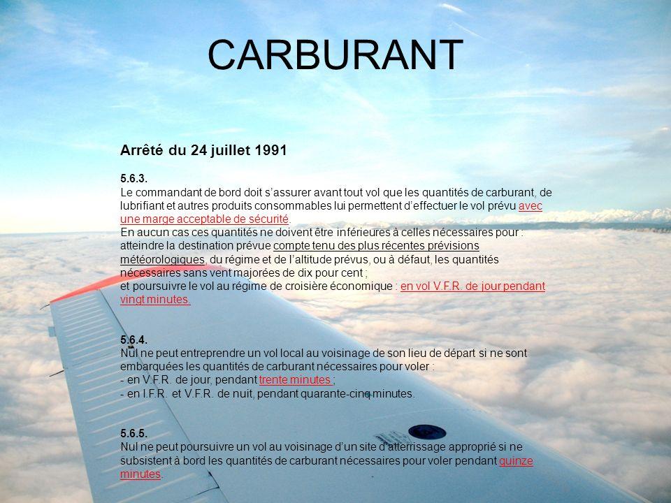 CARBURANT Arrêté du 24 juillet 1991 5.6.3.