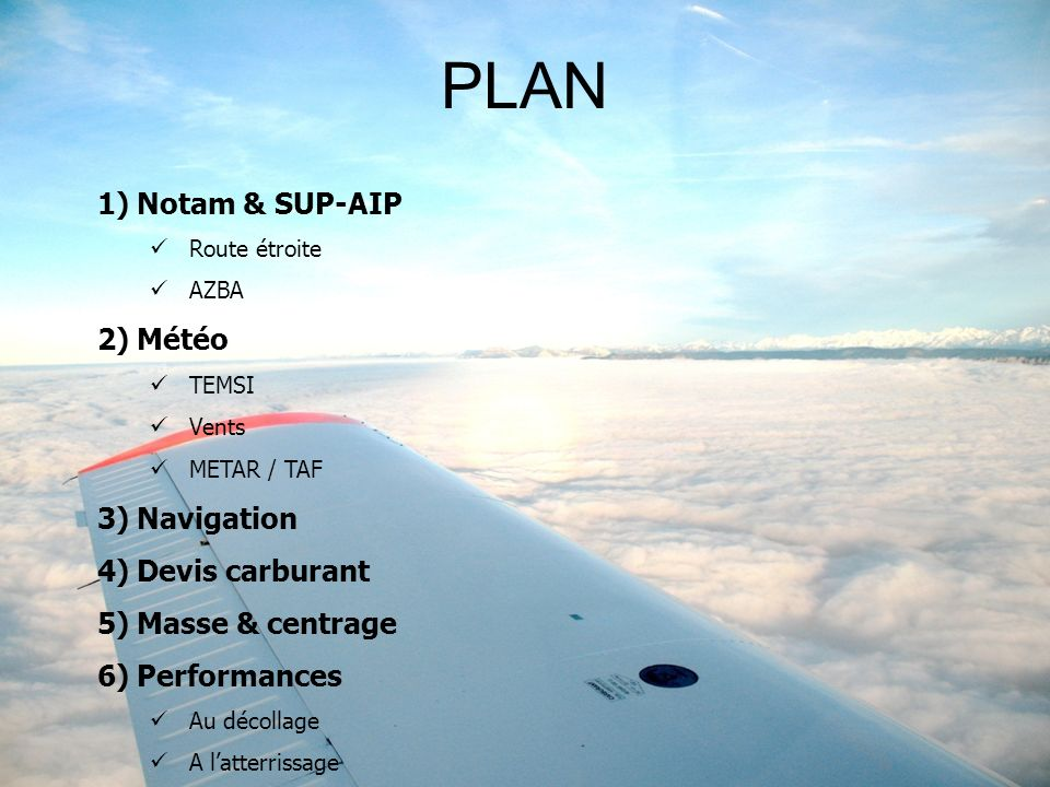 PLAN Notam & SUP-AIP Météo Navigation Devis carburant Masse & centrage