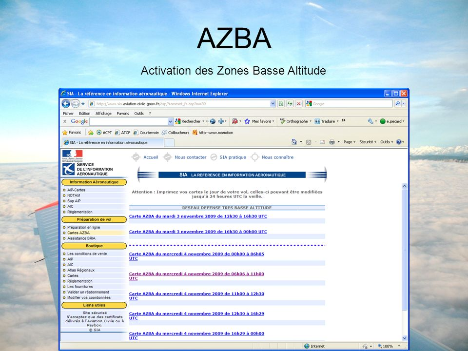 AZBA Activation des Zones Basse Altitude