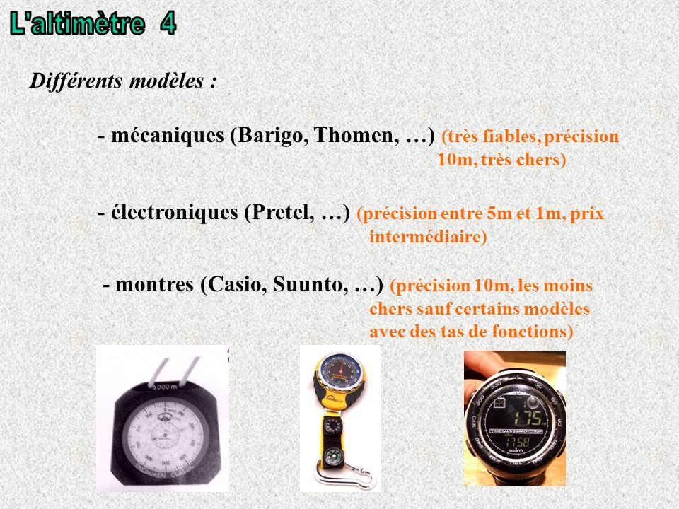 L altimètre 4 Différents modèles :