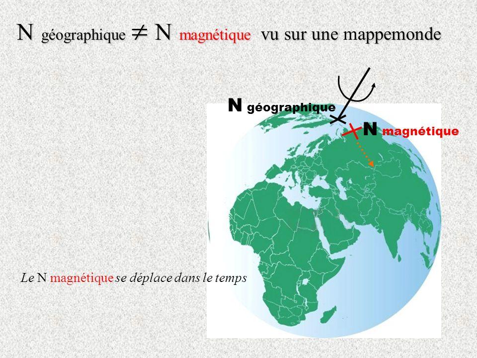 N géographique  N magnétique vu sur une mappemonde