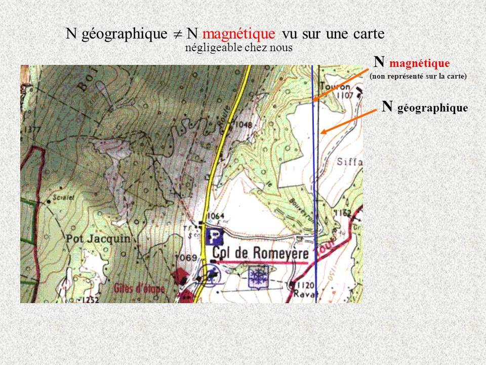 N géographique  N magnétique vu sur une carte