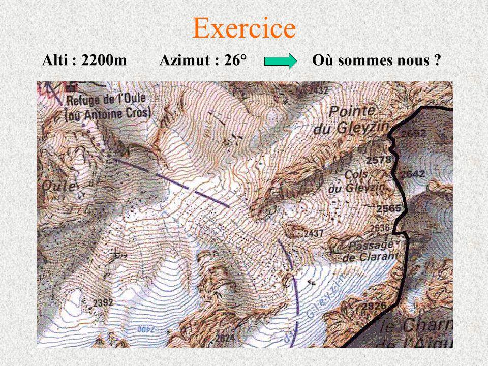 Exercice Alti : 2200m Azimut : 26° Où sommes nous