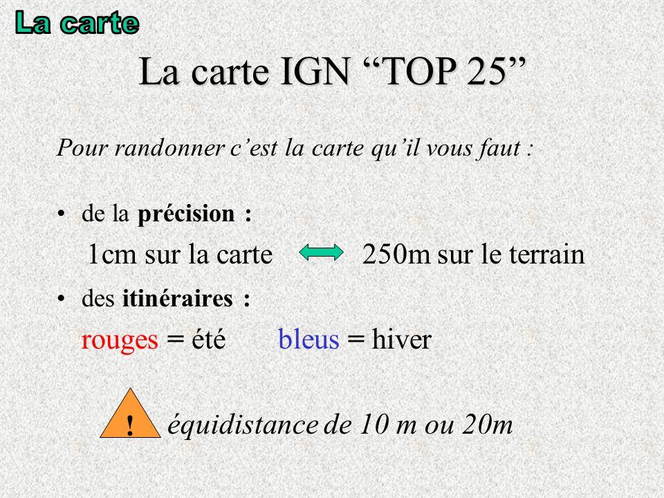 La carte IGN TOP 25 La carte 1cm sur la carte 250m sur le terrain