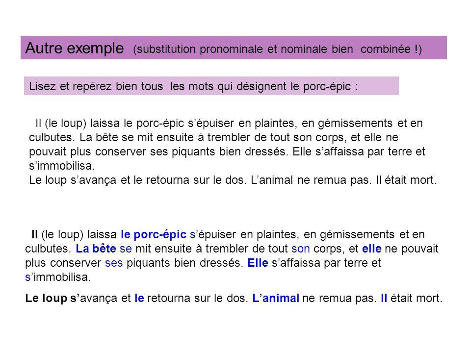 Autre exemple (substitution pronominale et nominale bien combinée !)