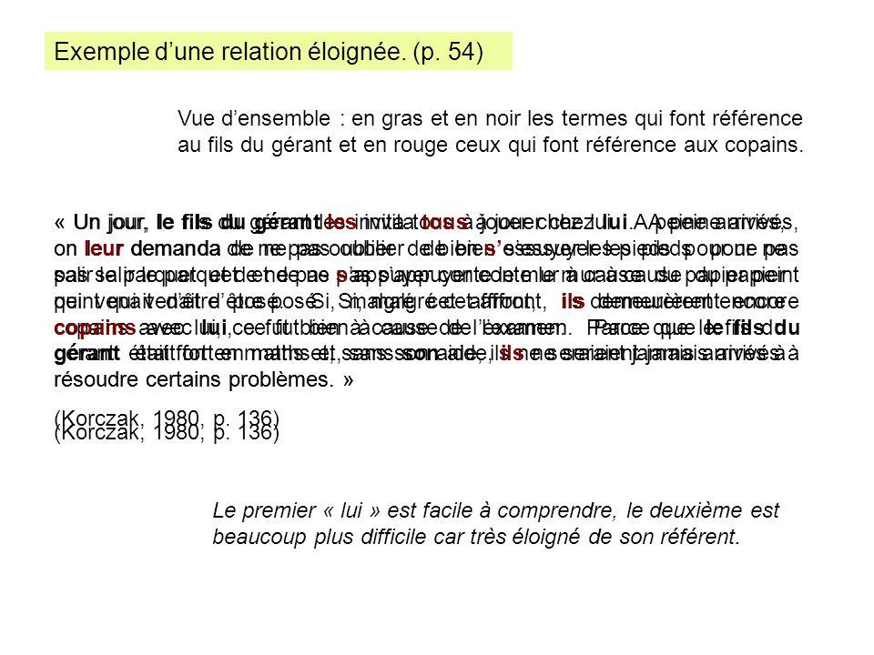 Exemple d'une relation éloignée. (p. 54)