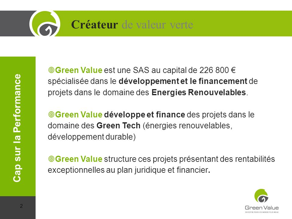 Créateur de valeur verte