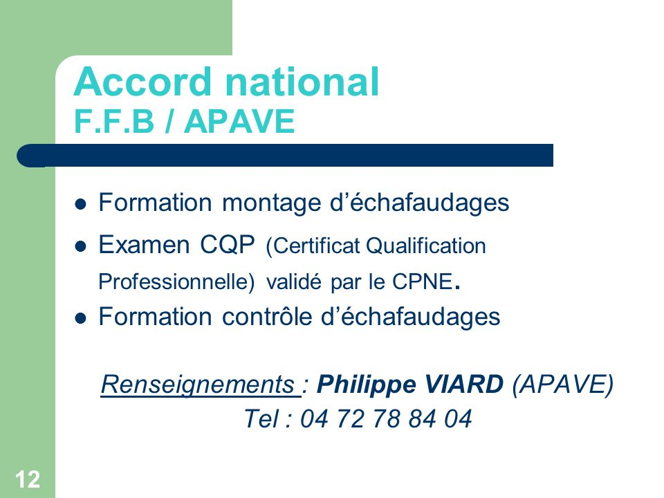 Accord national F.F.B / APAVE