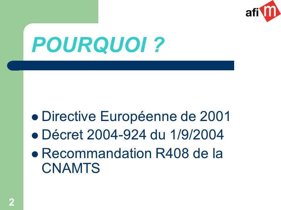 POURQUOI Directive Européenne de 2001 Décret 2004-924 du 1/9/2004