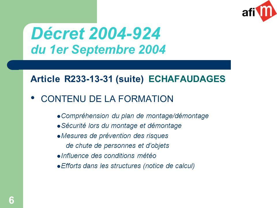 Décret 2004-924 du 1er Septembre 2004