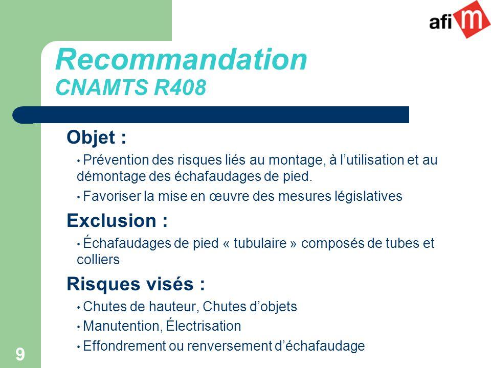 Recommandation CNAMTS R408