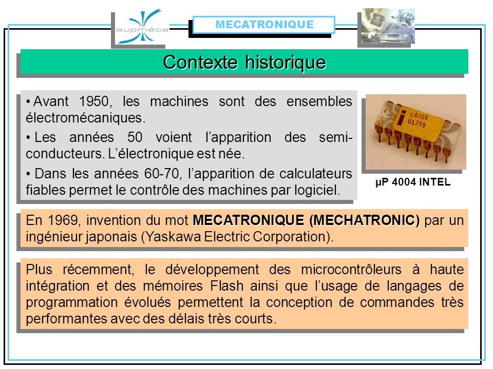 MECATRONIQUE Contexte historique. Avant 1950, les machines sont des ensembles électromécaniques.