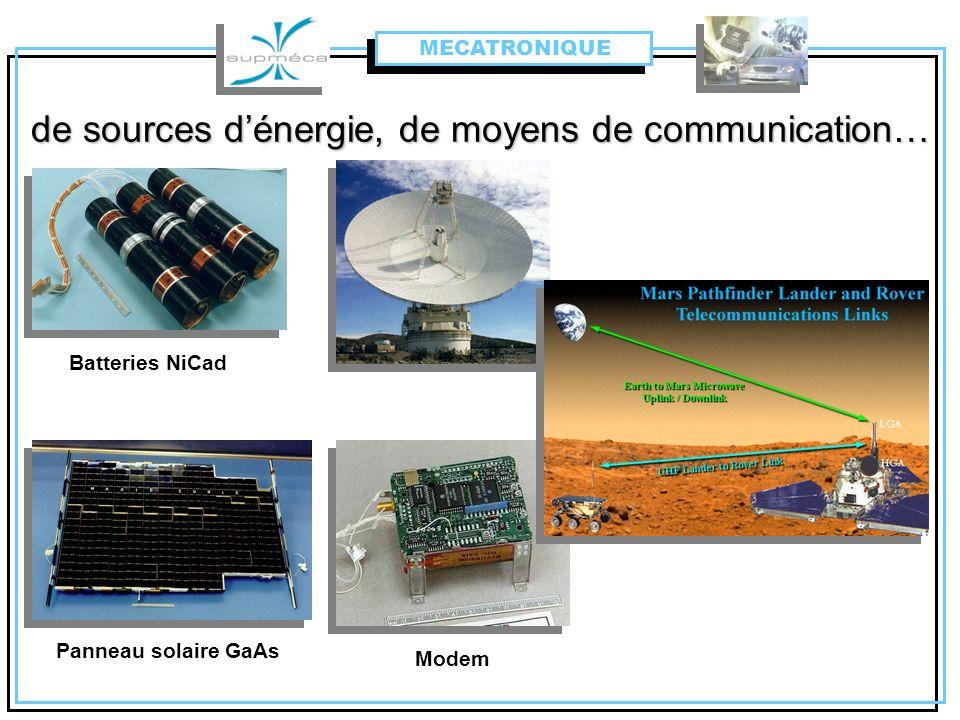 de sources d'énergie, de moyens de communication…
