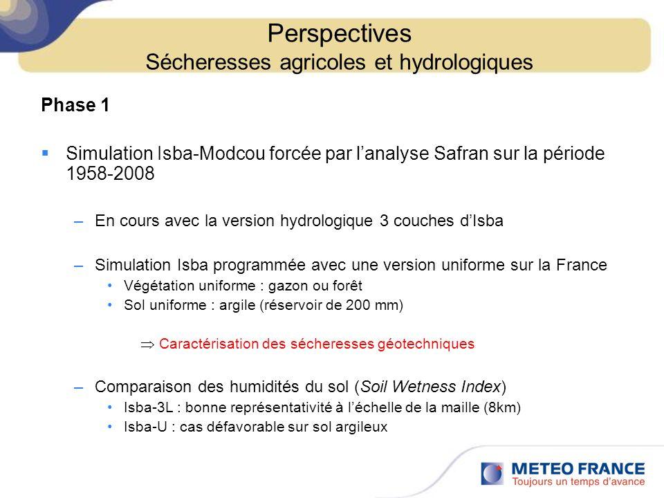 Perspectives Sécheresses agricoles et hydrologiques
