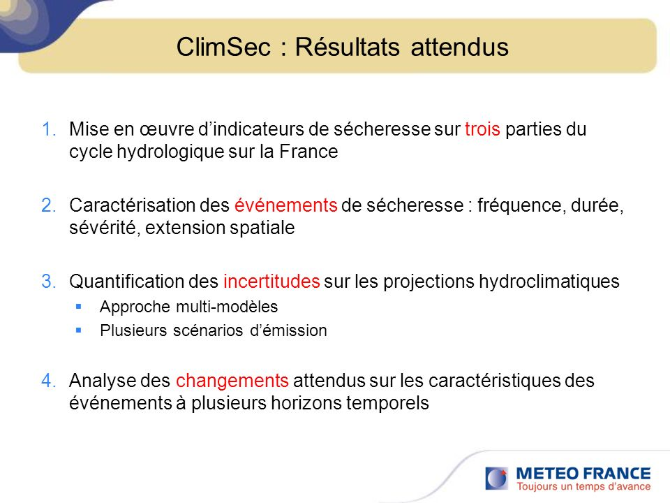 ClimSec : Résultats attendus