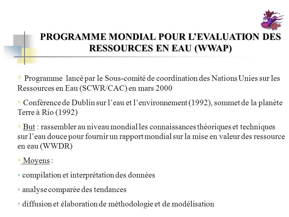 PROGRAMME MONDIAL POUR L'EVALUATION DES RESSOURCES EN EAU (WWAP)