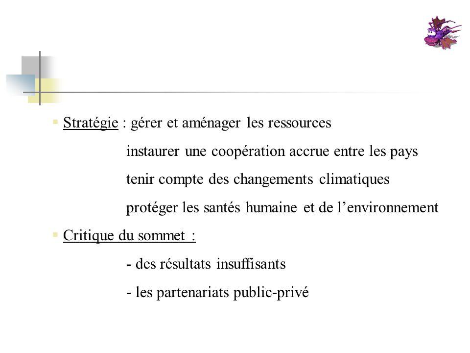 Stratégie : gérer et aménager les ressources