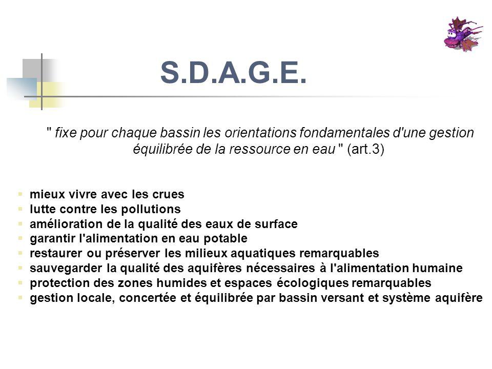 S.D.A.G.E. fixe pour chaque bassin les orientations fondamentales d une gestion équilibrée de la ressource en eau (art.3)