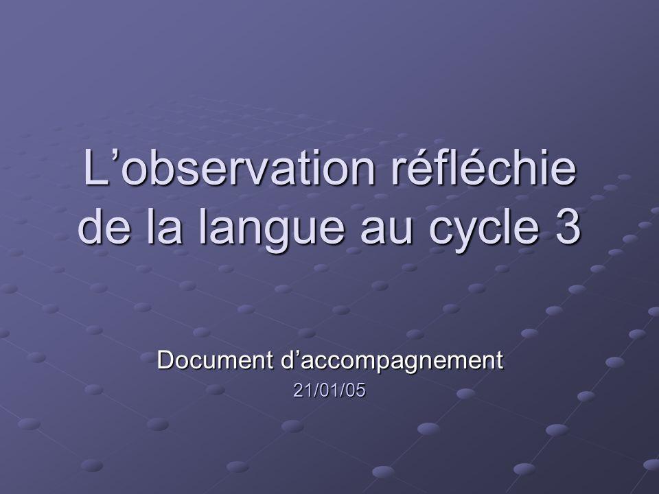 L'observation réfléchie de la langue au cycle 3