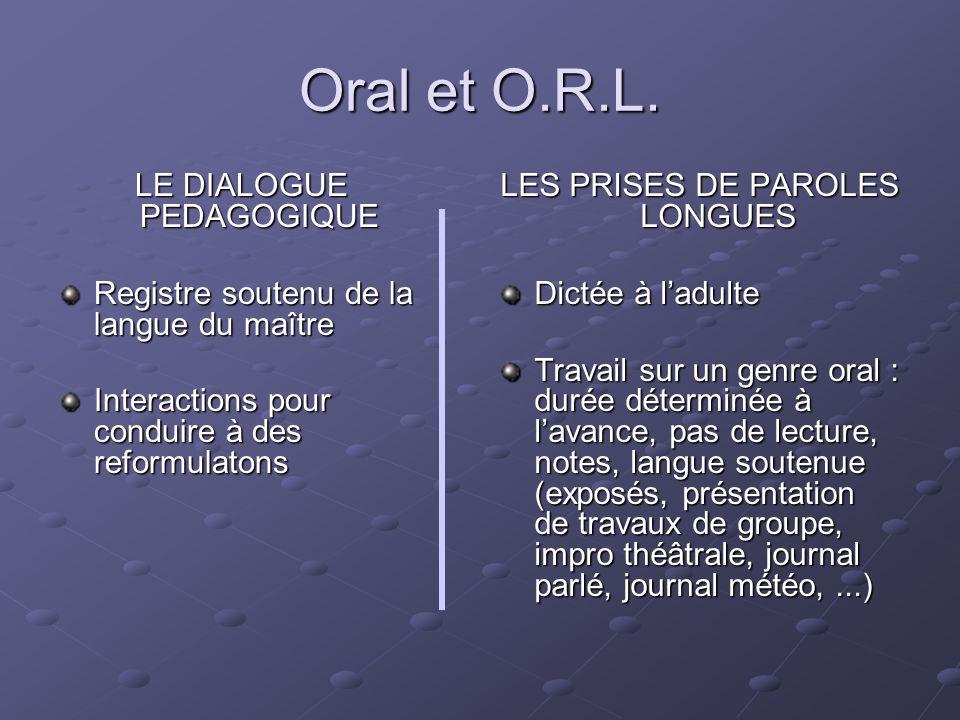 Oral et O.R.L. LE DIALOGUE PEDAGOGIQUE