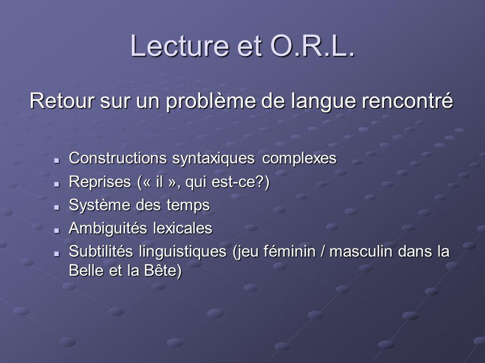 Lecture et O.R.L. Retour sur un problème de langue rencontré