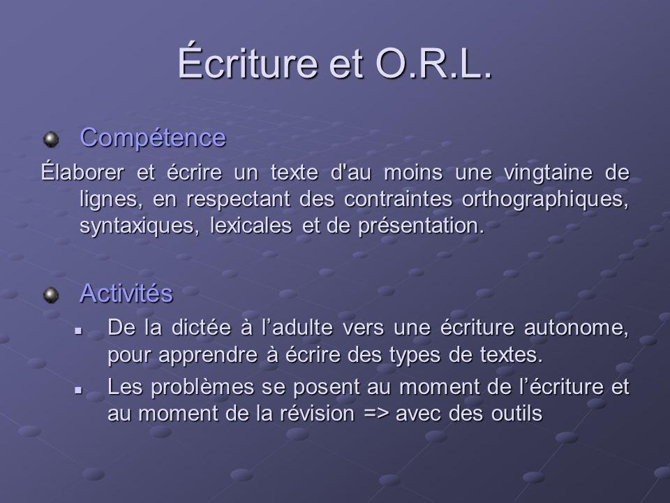 Écriture et O.R.L. Compétence Activités