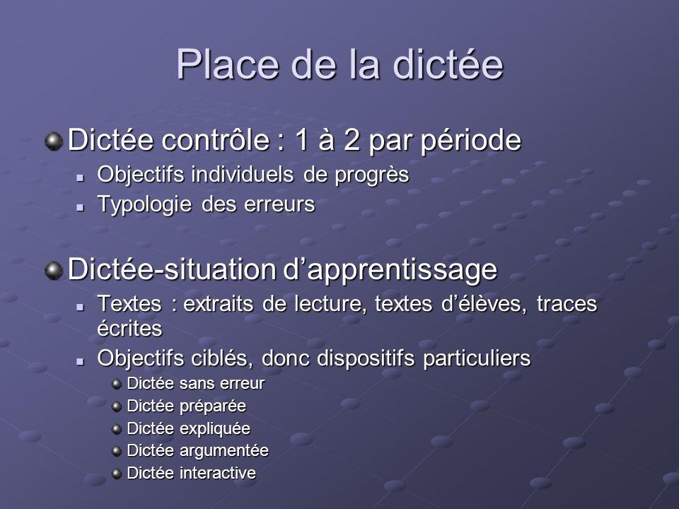 Place de la dictée Dictée contrôle : 1 à 2 par période