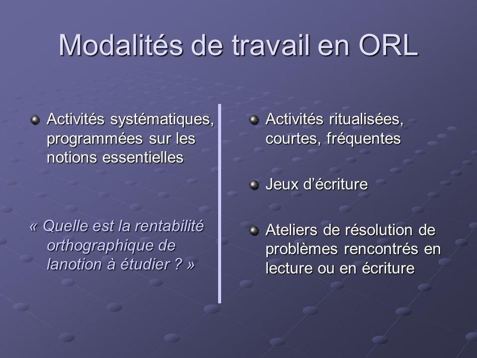 Modalités de travail en ORL