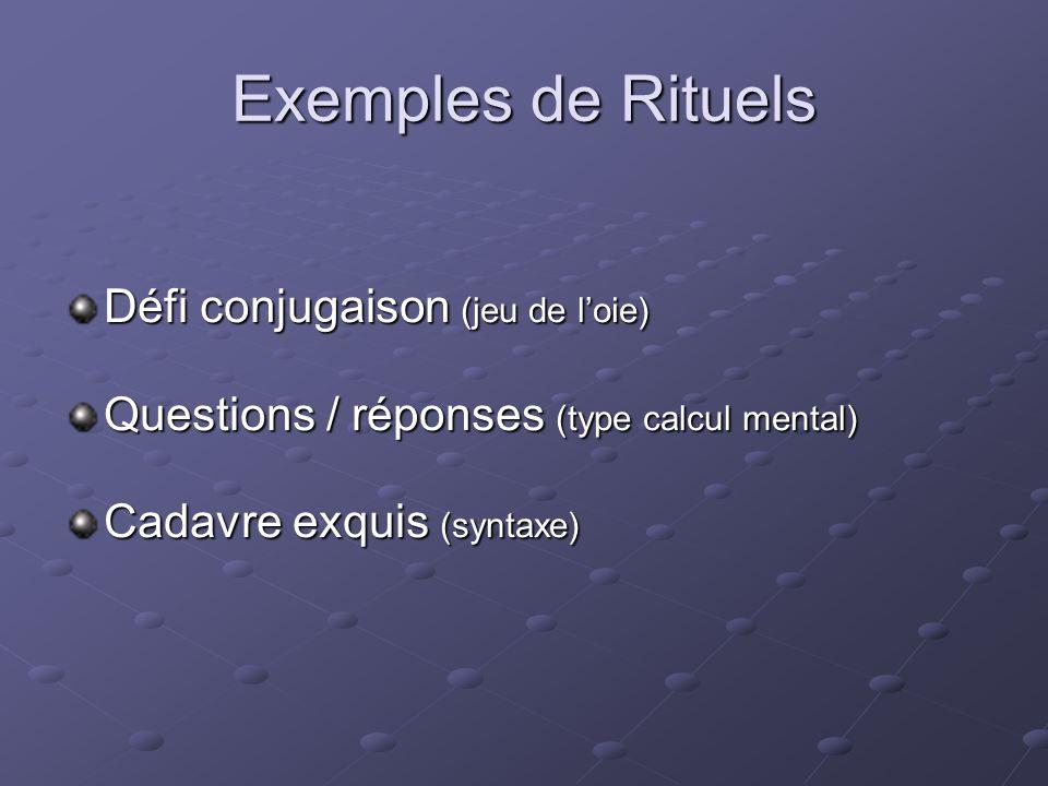 Exemples de Rituels Défi conjugaison (jeu de l'oie)