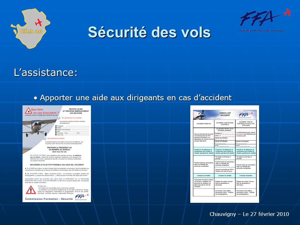 Sécurité des vols L'assistance: