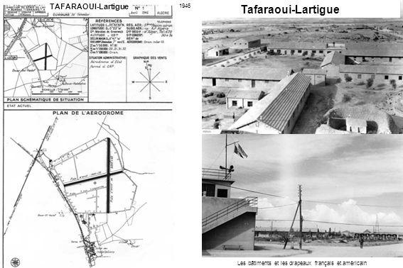 Les bâtiments et les drapeaux français et américain